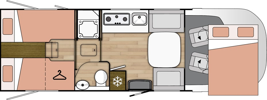 Rozloženie karavanu Benimar Amphitryon 967